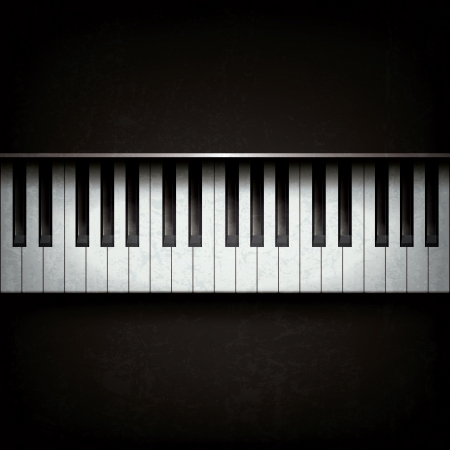 Abstract grunge background with piano on black Çizim