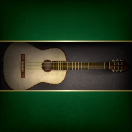 musical instrument symbol: Abstract grunge green background with acoustic guitar