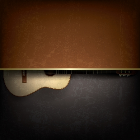 Abstract grunge music background with acoustic guitar Çizim