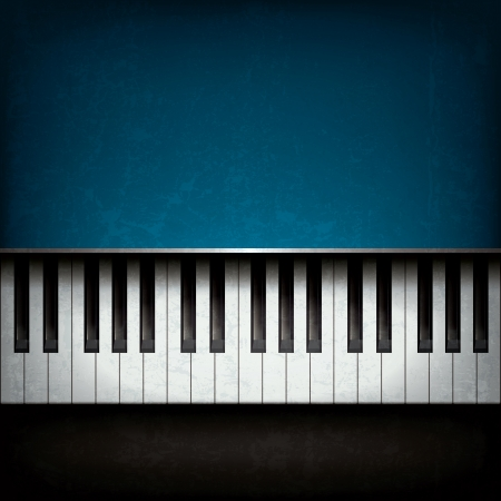 music background: Abstract grunge music background with blue piano Illustration
