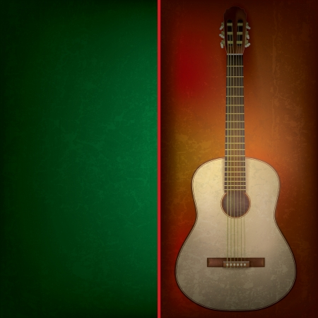 Abstract grunge background with acoustic guitar on brown Vector
