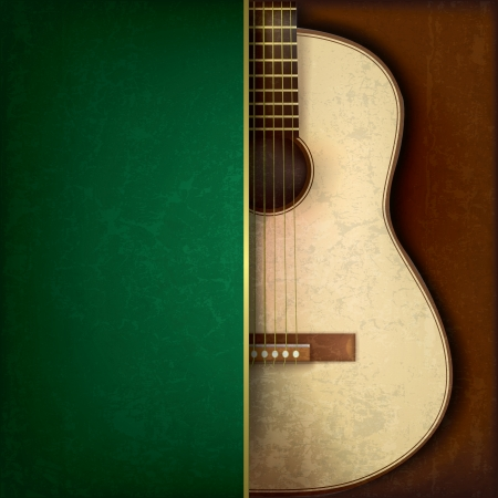Abstract grunge green background with acoustic guitar on brown Çizim