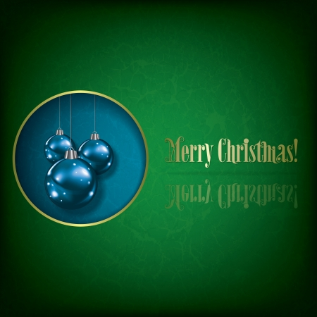 Abstract grunge greeting with Christmas decorations on blue Vector