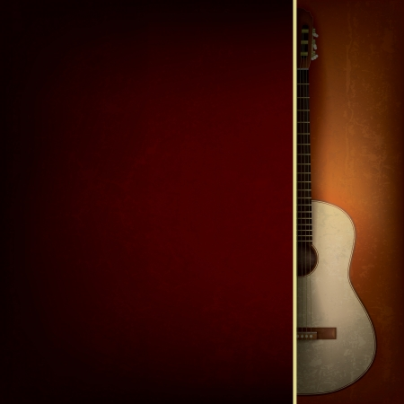 Abstract grunge red background with acoustic guitar on brown Çizim