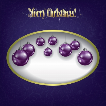 Christmas grunge greeting with purple decorations on white Vector