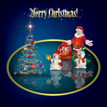 Christmas grunge greeting with Santa Claus and snowmen Çizim