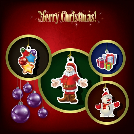 Holiday red greeting with Christmas tree decorations Vector