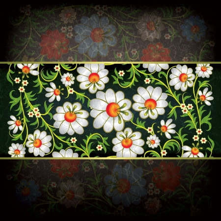 abstract grunge dark background with floral ornament Stock Vector - 16189277