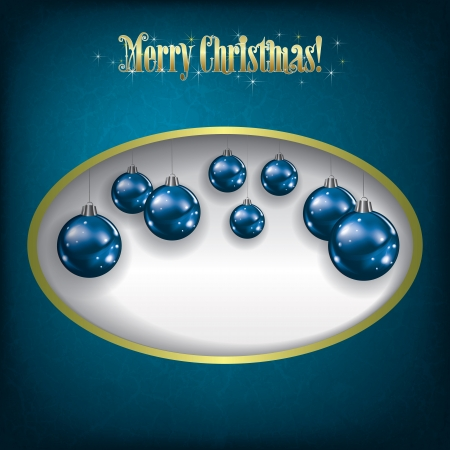Christmas grunge greeting with blue decorations on white Vector