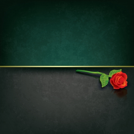 abstract grunge dark background with red rose Stock Vector - 16352379