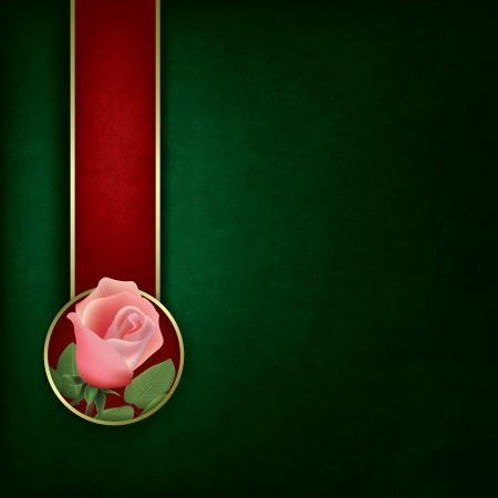 abstract grunge green background with rose and red ribbon Stock Vector - 16352376