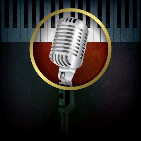 abstract grunge background with retro microphone and piano Vector