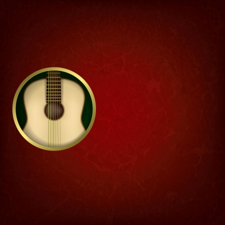 orchestral: abstract grunge red music background with guitar on green
