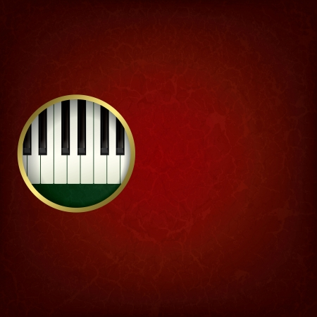 abstract grunge red music background with piano on green Vector