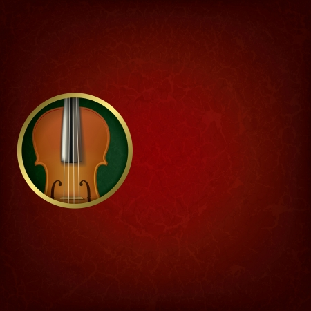 groupe: abstract grunge red music background with violin on green Illustration