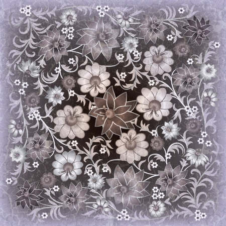 abstract grunge floral ornament with flowers on gray