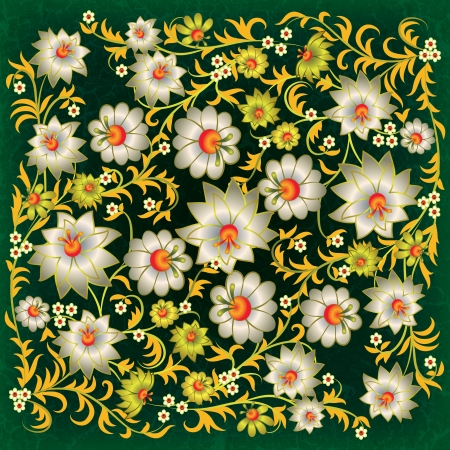 abstract grunge floral ornament with white flowers on green background Vector
