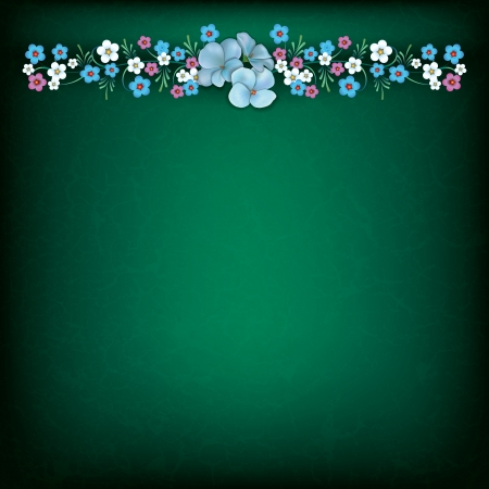 abstract grunge floral background with spring flowers on green Vector