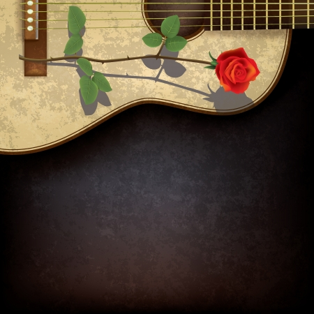 guitar background: abstract grunge black background with rose and guitar Illustration