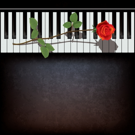 piano: abstract grunge black background with rose and piano