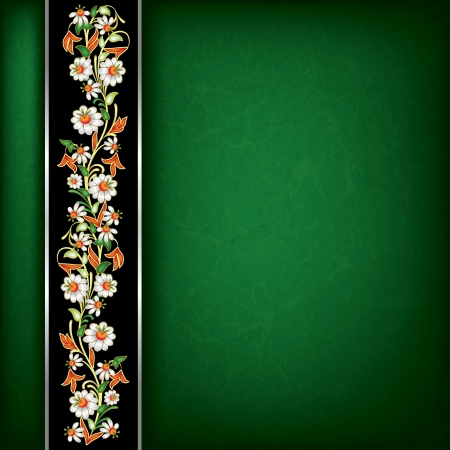 abstract grunge green background with floral ornament on black ribbon Vector