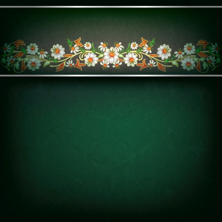 abstract grunge green background with white floral ornament Stock Vector - 16664359