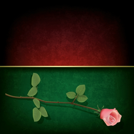 abstract grunge green red background with rose Stock Vector - 16664363
