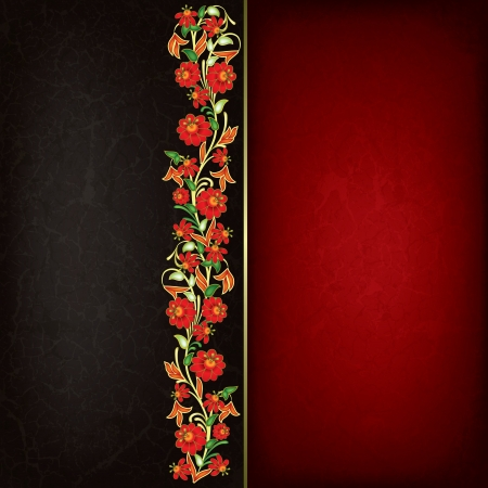 abstract grunge background with red floral ornament Stock Vector - 16911664