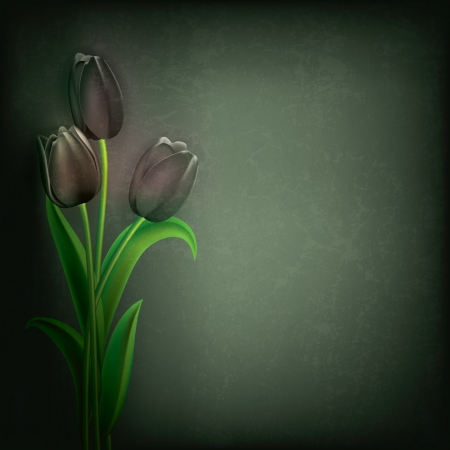 abstract grunge floral background with black tulips Vector