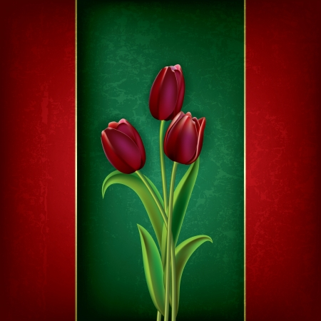 abstract grunge floral background with red tulips on green Vector