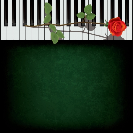 abstract grunge green background with rose on piano Vector
