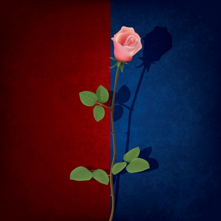 abstract grunge red blue background with red rose Vector