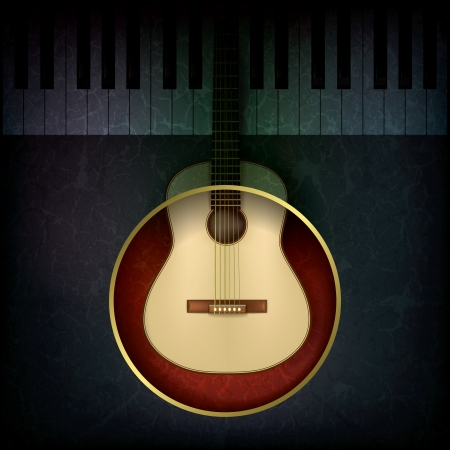 abstract music grunge background with guitar and piano Vector