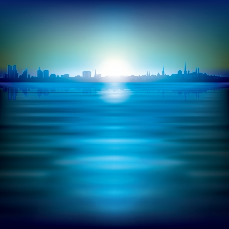 abstract background with silhouette of city and sunrise Vector