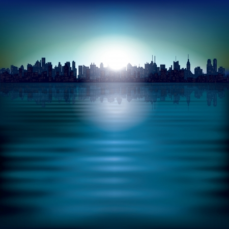 horizon over water: abstract background with sunrise and silhouette of city Illustration