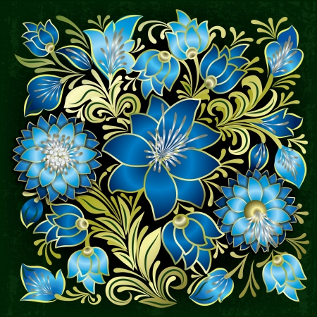 abstract grunge blue floral ornament on green background Vector