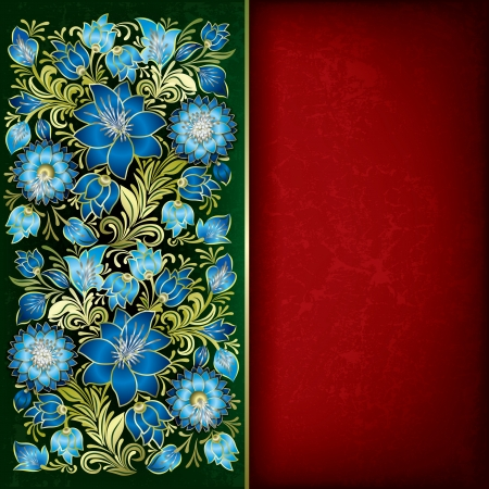abstract grunge blue floral ornament on red green background Stock Vector - 17023923