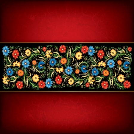 abstract grunge red background with floral ornament on black Stock Vector - 17023902