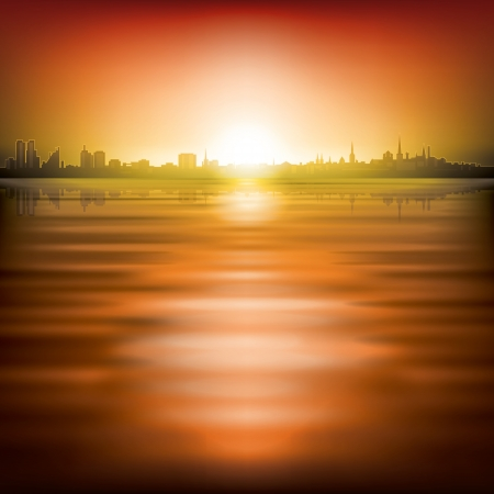abstract red background with silhouette of city and sunrise Vector