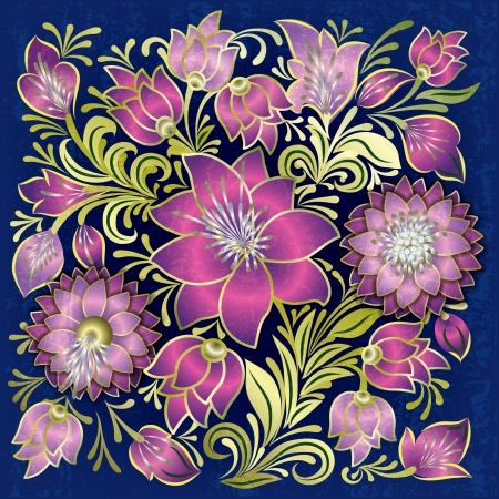 abstract grunge pink floral ornament on blue background Vector