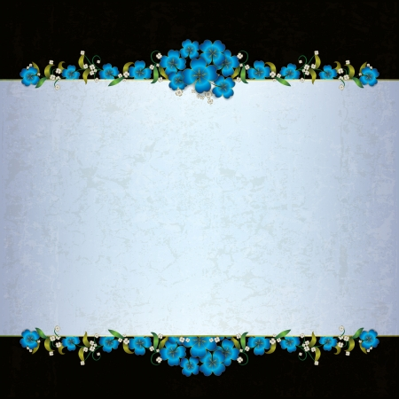 abstract grunge background with blue floral ornament Vector