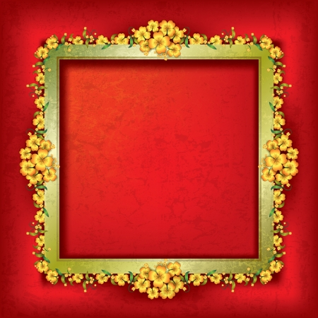 abstract grunge background with gold frame and floral ornament Stock Vector - 17214202