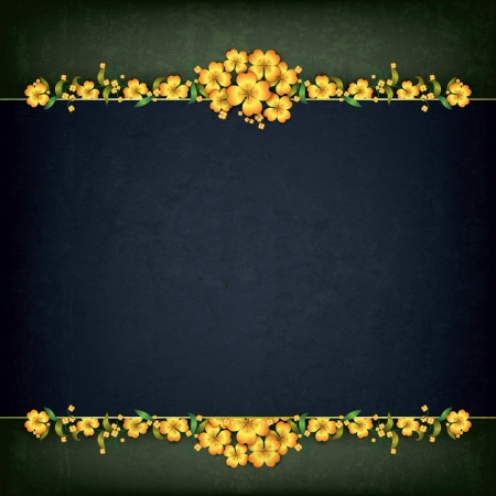 abstract grunge background with yellow floral ornament Stock Vector - 17214201