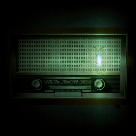 retro radio: abstract grunge black background with retro radio