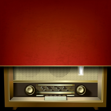 abstract grunge red background with retro radio Vector