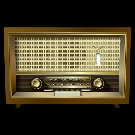 retro radio isolated on a black background Vector