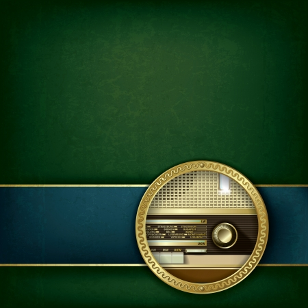 abstract green grunge background with retro radio Çizim