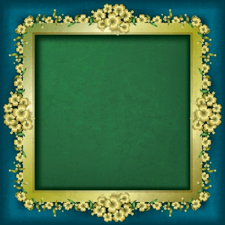 abstract grunge background with frame and gold floral ornament Stock Vector - 17333471