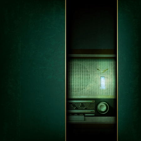 abstract grunge blue background with retro radio Vector