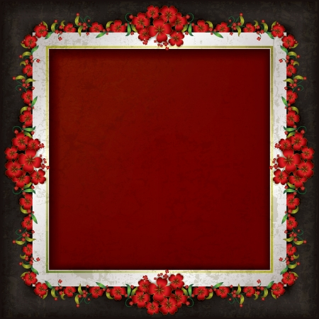 abstract grunge red background with frame and floral ornament Vector